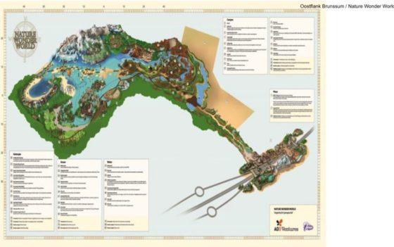 Kaart van het beoogde pretpark Nature Wonder World in Brunssum