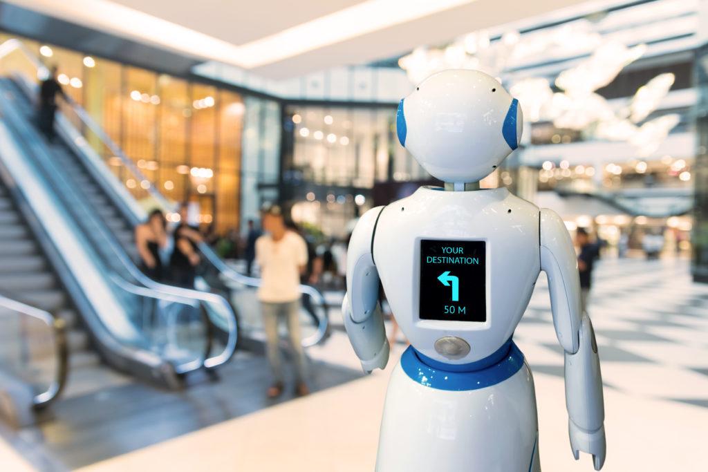 Robot in een winkelcentrum