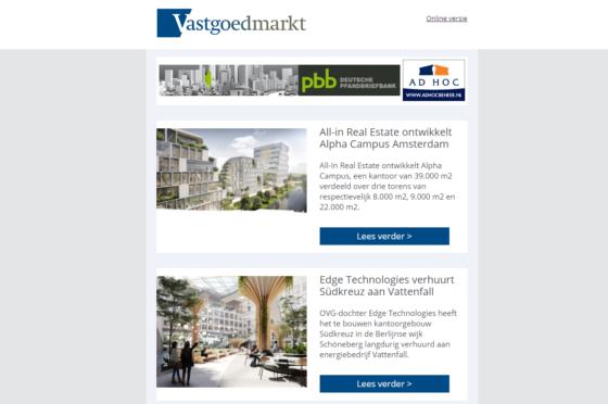 Vernieuwing van de dagelijkse nieuwsbrief Vastgoedmarkt