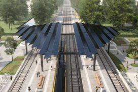 Dak van zonnecellen op nieuw station Delft Campus
